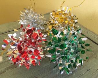 SHIPS FREE!! Set of 4 Plastic Foil Polka Dot Pom Pom Ornaments