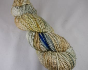 Hand Dyed 2ply Sock Yarn, hand dyed wool, variegated sock yarn, nylon sock yarn, yellow, blue