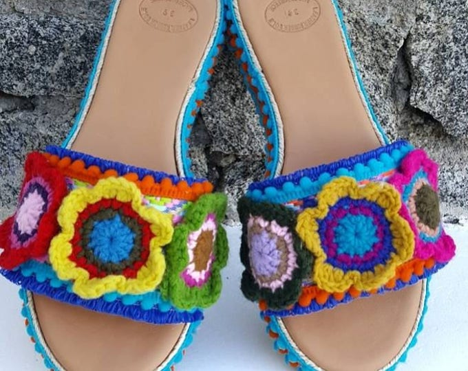 Greek sandals/wedges/slides/colorful/pompom/crochet/handmade/heel sandals /heel slides/women's shoes/boho/ethnic/bohemian/boho sandals/shoes