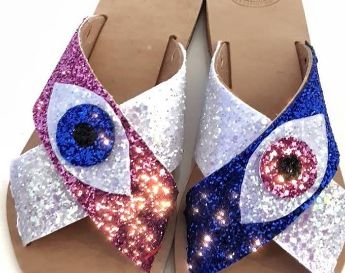 DHL FREE/Greek sandals//evil eye/glitter sandals/leather sandals/summer shoes/boho /women's shoes/strappy sandals/Handmade/sparkle sandals