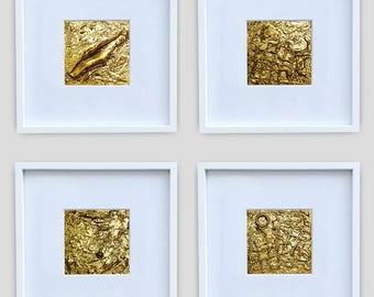 Gold Wall Art Small Painting Acrylic Abstract Paintings Textured Painting Abstract Art Mini Wall Art Small Abstract Paintings Set of 4