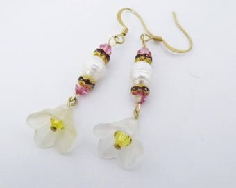 Swarovski and freshwater pearl Cherry Blossom Earrings saukra