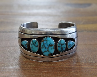 "Gorgeous Sterling Silver and Turquoise Shadowbox Cuff Bracelet for 5 1/2"" Wrist"