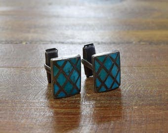 Vintage Sterling Silver Turquoise Inlay Cuff Links
