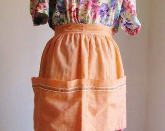 SALE 15% OFF Vintage 50s Dreamsicle Orange Pocketed Half-Apron