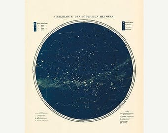 ON Sale 20% OFF Vintage Star Map - Astronomy Poster - Astrology Poster - Southern Hemisphere Fine Art Print - Milky Way Print - Museum Quali