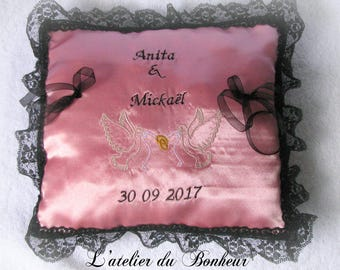 Pink and black ring bearer embroidered and personalized pillow