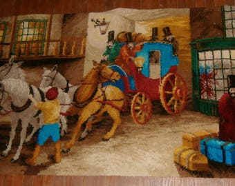 """Vintage Bondax Axminster Pictorial Rug Wall Hanging Tapestry Carriage Horses 51"""" x 27"""" The Arrival Bond Worth England English"""