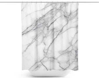 Marble Shower Curtain | White Shower Curtain | Modern Shower Curtain | Grey Shower Curtain | Cool Shower Curtains | Unique Shower Curtain