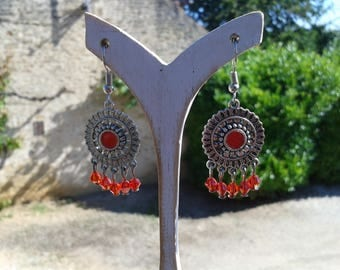 Earrings red dangle earrings