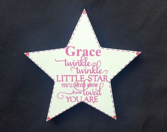 Twinkle Twinkle Little Star You'll Never Know How Loved You Are Free standing wooden Star Sign Plaque - Outdoor Baby Child Memorail gift
