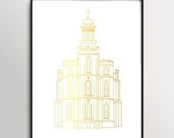 LDS Logan Utah Temple Gold Foil Print