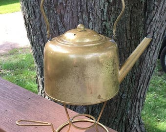 On Sale Mid century brass kettle with warming stand. Kewco Brass kettle and stand.