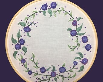 Hand Embroidered Floral Wreath