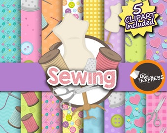 "Sewing Digital Paper + Clipart : ""Sewing Digital Paper""- Sewing Party Invitation, Sewing Birthday Invitation, Sewing party"
