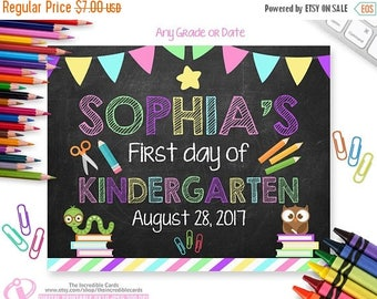 OFF SALE First Day of KINDERGARTEN Sign, First Day of School Chalkboard Sign Printable Photo Pro-Personalized, Any Size or Grade