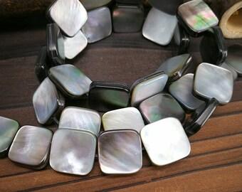 Full Strand 12mm Black Mother of Pearl Shell Square Beads Black Shell Square Beads