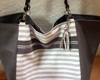 large tote, beach or weekend fabric, leather handles