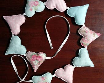 Puffy Heart Bunting - Pink and Aqua
