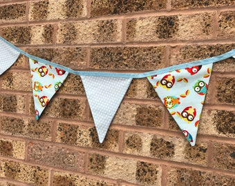 Handmade Bunting Blue Owls and Spotty