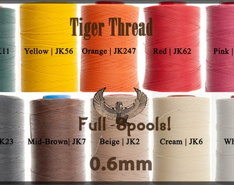 Tiger Thread 0.6mm - Wholesale - Full 1000m Spools - Factory Sealed - Ritza 25 Waxed Polyester Thread - For Leather Hand Sewing