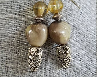 Glass Owl Earrings