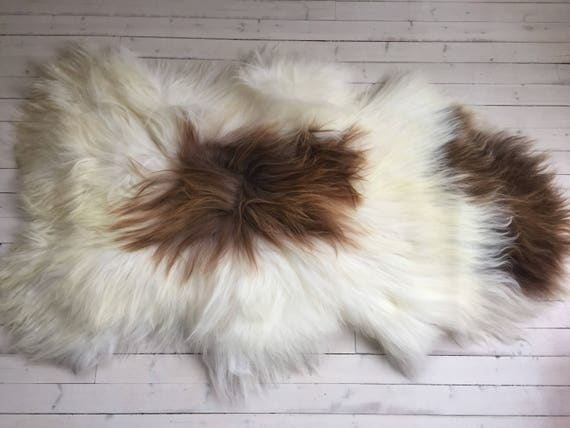Spotted, long haired, large sheepskin rug spael sheep throw Brown, white - 17194
