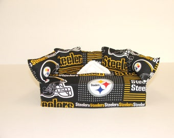 Pittsburgh Steelers NFL Licensed fabric tissue box cover.