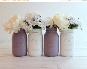 SUMMER SALE Painted Mason Jar Set - Rustic Wedding Centerpieces - Purple and White - Quart Kerr Jars