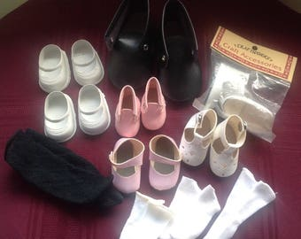 Mixed Lot Dolls Shoes and Socks/Doll Making Destash/ Craft Supply/ Pink Black White Shoes