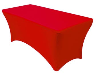 Red 6' ft. Spandex Fitted Stretch Tablecloth Rectangular Table Cover For Wedding Banquet Party Trade Show