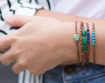 1x Freundschafts Armband, Perlenarmband, Boho Armband, Armband braun, Edelstein Armband