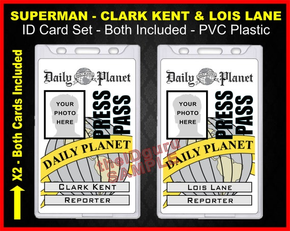 Clark kent press pass printable for Media pass template
