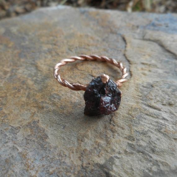 Garnet Copper Ring- Raw Garnet Ring - Rough Garnet Copper Ring - Copper Electroformed Ring
