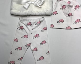 Pink elephant  leggings, hat and vest
