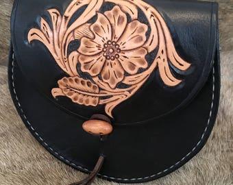 Handmade leather sporran style belt pouch