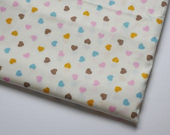 62 inches wide Cotton Fabric little hearts mini hearts multi color yellow brown blue pink , 1 yard