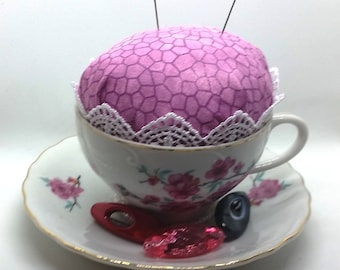 Lavender Mosaic Tea Cup Pin Cushion
