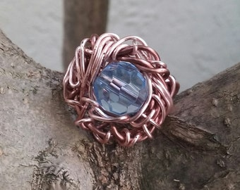 Ring, Wire jewelry, Handmade- Blue Crystal Bead, Rose Gold Wire, Size 6.