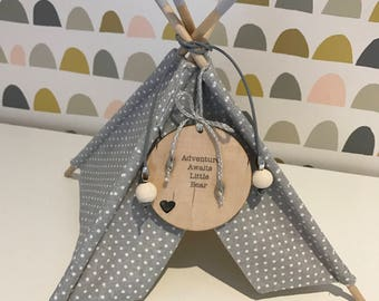 Handmade personalised mini teepee. Ornament or imaginative play. New baby nursery gift.