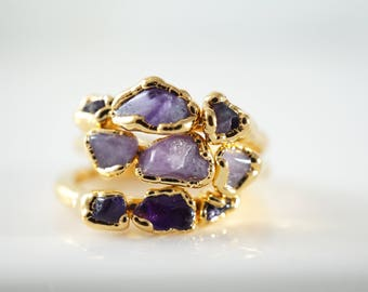 Raw Amethyst Stacking Ring • Gold Ring • Gifts for Wife • Gifts for Bridesmaids • Purple Stone Ring
