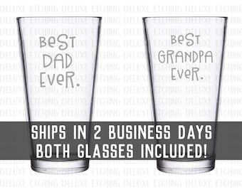 Best Dad Ever Glass AND Best Grandpa Ever Glass 16 oz Pint Glass SET Best Dad Ever Beer Glass Best Grandpa Ever Beer Glass