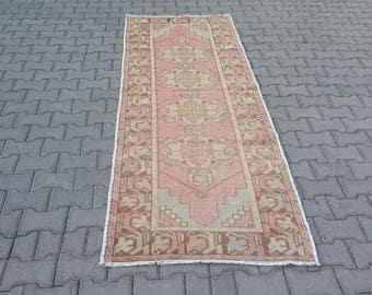 VINTAGE TURKISH OUSHAK Runner Rug 3x9-Vintage Turkish Rug Runner-Vintage Oushak Rug Runner-Vintage Turkish Oushak Hallway Runner Rug