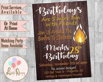 bonfire birthday party invitation bonfire party backyard bonfire fall party invitation rustic - Bonfire Party Invitations