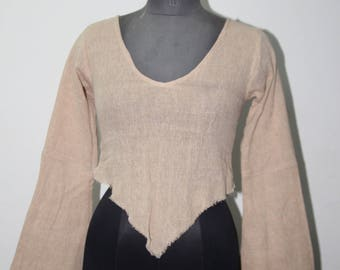 Natural cotton long sleeves pixie top