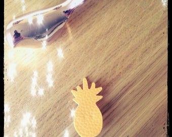pin badge pineapple mustard yellow faux leather