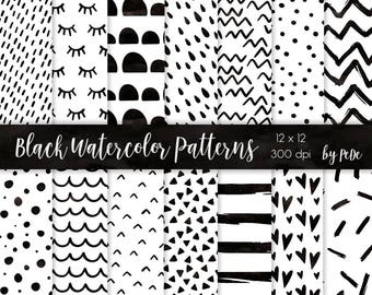BUY 3 FOR 8 USD, Black watercolor digital papers, watercolor black patterns, hearts, confetti, chevron, dots, triangles, stripes. download