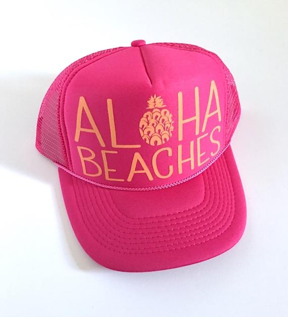 Aloha Beaches Flamingo | Aloha Trucker Hat| Aloha Hat| Trucker Hat| Hawaii Hat| Pineapple Hat| Pineapple| Beach Hat| Pink Hat