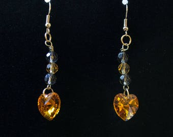 Swarovski crystal heart gold earrings with glass bead accents