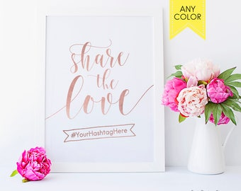 Rose gold hashtag sign Share the love Summer wedding Hashtag wedding sign Rose gold wedding hashtag wedding sign hash tags Custom signage